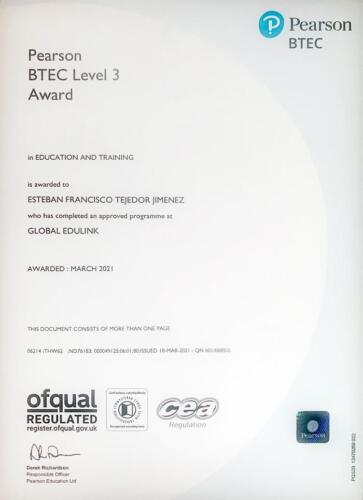 Education and Training NVQ3
