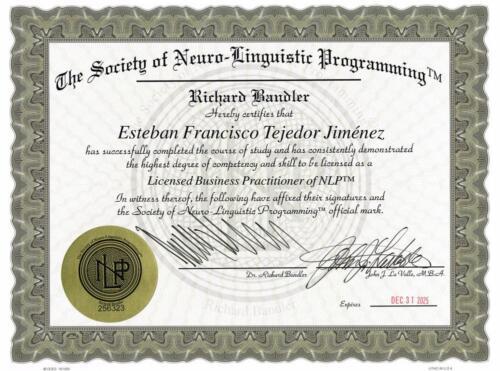 Neuro Linguistic Programming Practitioner